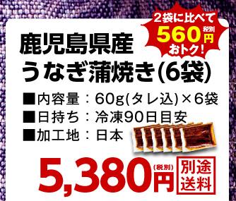 鹿児島県産うなぎ蒲焼き(6袋)