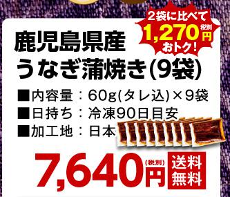 鹿児島県産うなぎ蒲焼き(9袋)