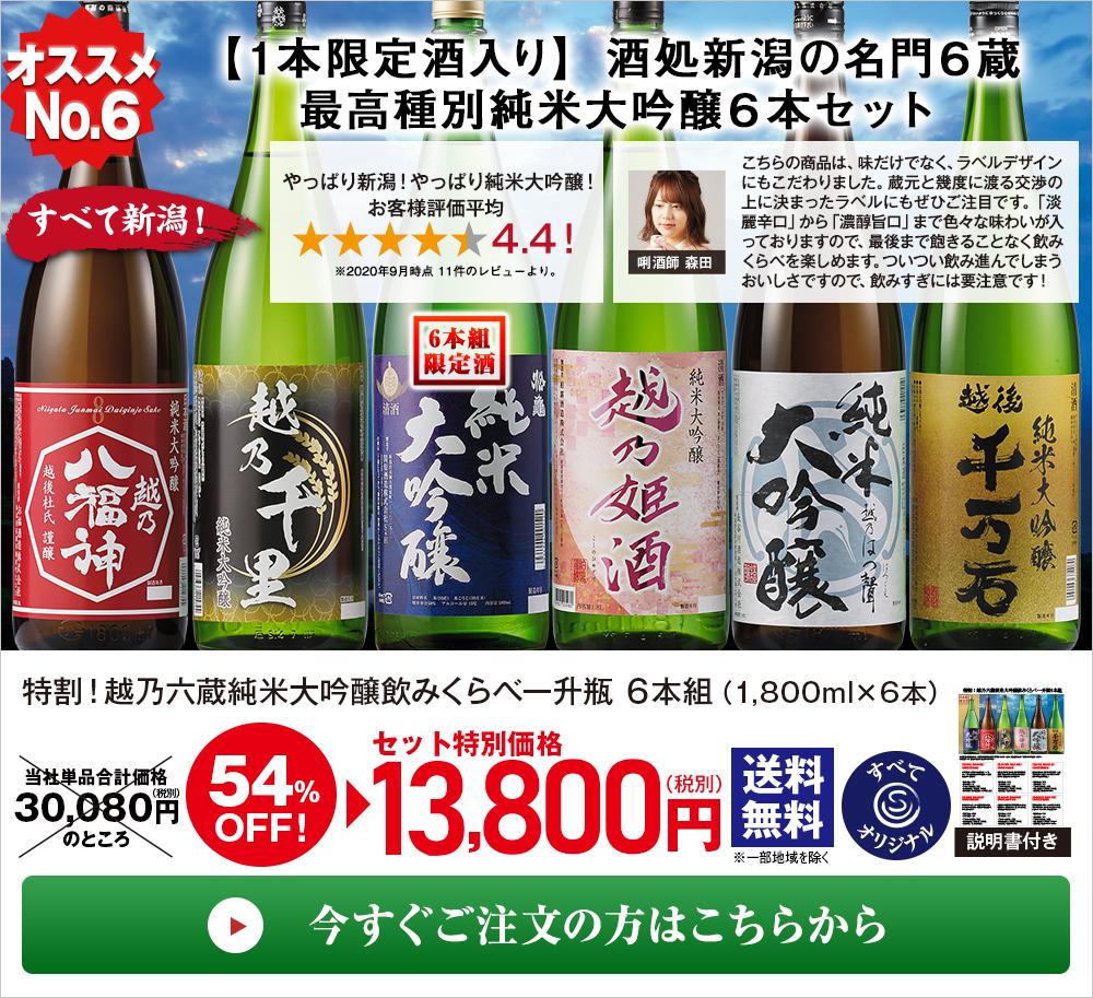特割!越乃六蔵 純米大吟醸飲みくらべ一升瓶 6本組