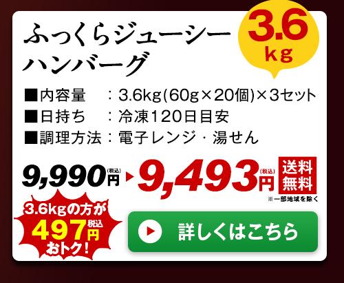 ふっくらジューシーハンバーグ3.6kg