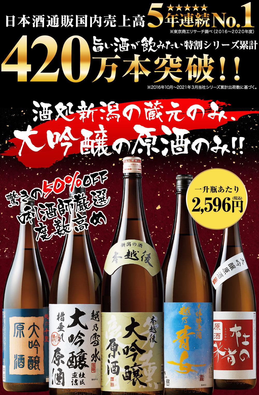 大吟醸特割シリーズ累計113万本突破!新潟の大吟醸原酒のみのセットが50%オフ