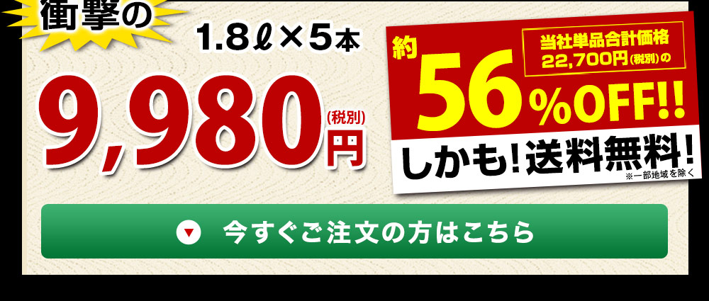 【驚きの56%OFF】特割!地酒蔵の5種飲みくらべ一升瓶5本組(京姫酒造)しかも送料無料!