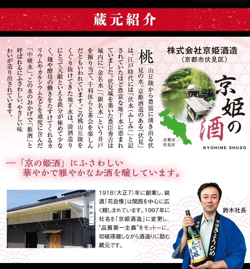 京都市伏見区。株式会社京姫酒造。蔵元紹介。
