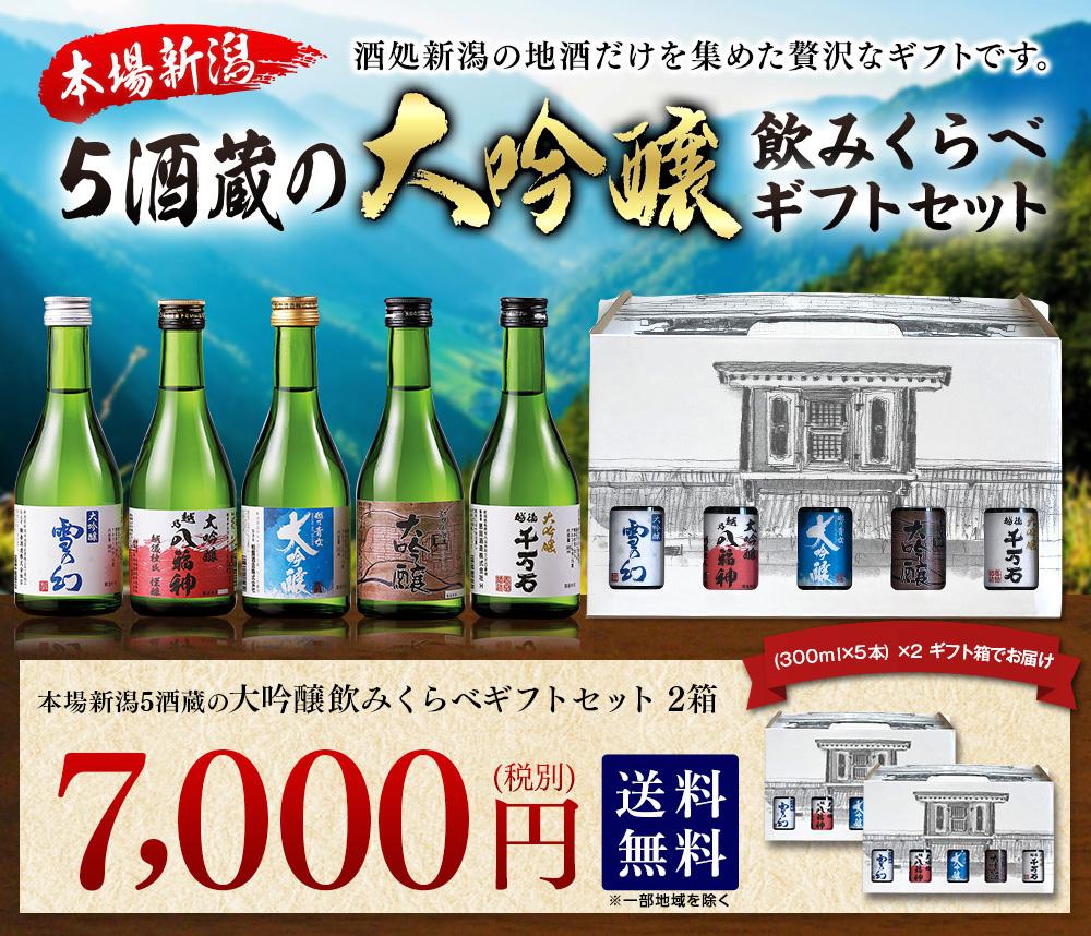 新潟地酒だけを集めた贅沢本場新潟5酒蔵の大吟醸飲みくらべギフトセット