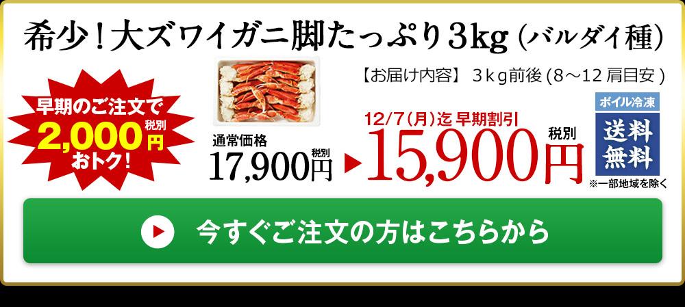 希少!大ズワイガニ脚たっぷり3kg(バルダイ種)