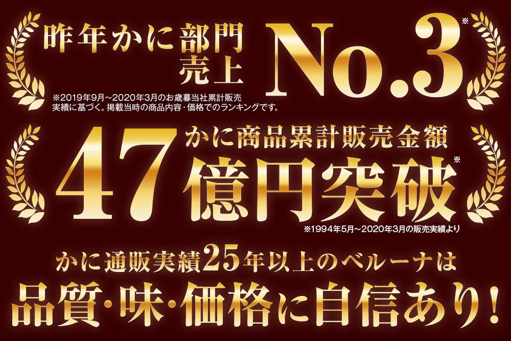 かに通販実績47贈円突破