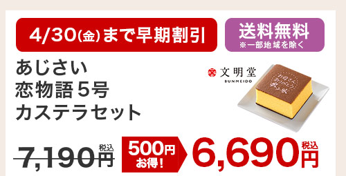 あじさい恋物語5号 カステラセット