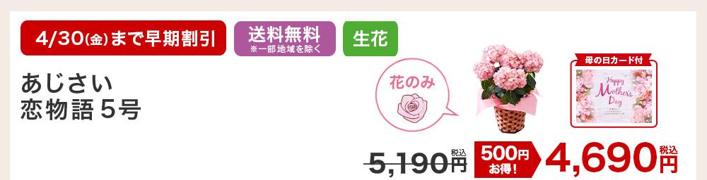 あじさい恋物語5号 お花のみ